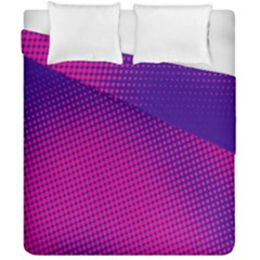 Retro Halftone Pink On Blue Duvet Cover Double Side (california King Size)