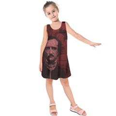 Edgar Allan Poe  Kids  Sleeveless Dress by Valentinaart