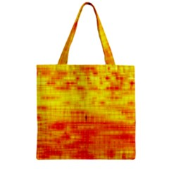 Bright Background Orange Yellow Zipper Grocery Tote Bag