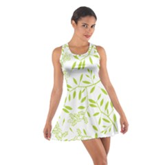 Leaves Pattern Seamless Cotton Racerback Dress by Simbadda