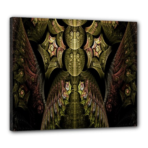 Fractal Abstract Patterns Gold Canvas 24  X 20  by Simbadda