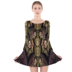 Fractal Abstract Patterns Gold Long Sleeve Velvet Skater Dress by Simbadda