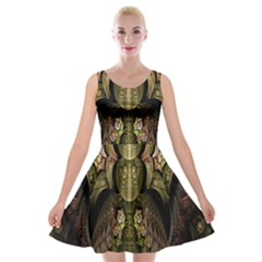 Fractal Abstract Patterns Gold Velvet Skater Dress