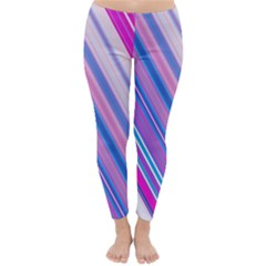 Line Obliquely Pink Classic Winter Leggings by Simbadda