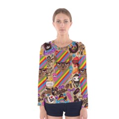 Background Images Colorful Bright Women s Long Sleeve Tee