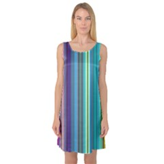 Color Stripes Sleeveless Satin Nightdress