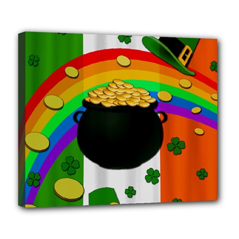 Pot Of Gold Deluxe Canvas 24  X 20   by Valentinaart