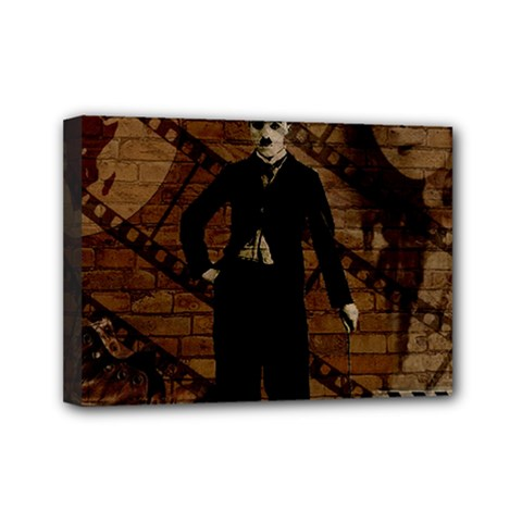 Charlie Chaplin  Mini Canvas 7  X 5  by Valentinaart