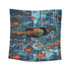 Urban Swimmers   Square Tapestry (small) by Valentinaart