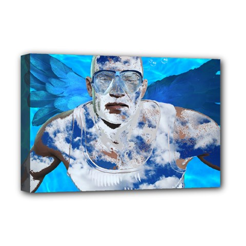 Swimming Angel Deluxe Canvas 18  X 12   by Valentinaart