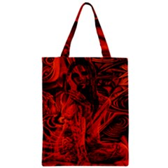 Red Girl Zipper Classic Tote Bag by Valentinaart