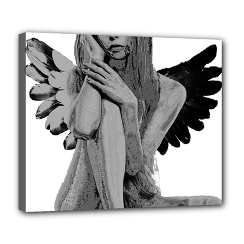 Stone Angel Deluxe Canvas 24  X 20   by Valentinaart