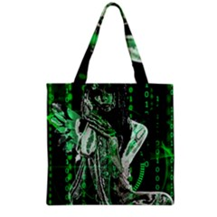 Cyber Angel Grocery Tote Bag by Valentinaart