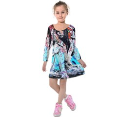 Graffiti Angel Kids  Long Sleeve Velvet Dress by Valentinaart