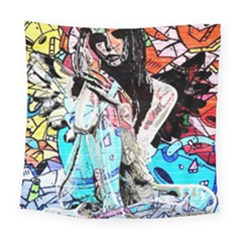 Graffiti Angel Square Tapestry (large) by Valentinaart