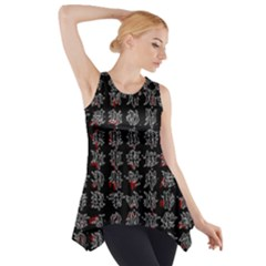 Chinese Characters Side Drop Tank Tunic