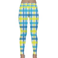 Gingham Plaid Yellow Aqua Blue Classic Yoga Leggings by Simbadda