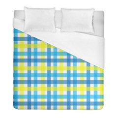 Gingham Plaid Yellow Aqua Blue Duvet Cover (full/ Double Size)