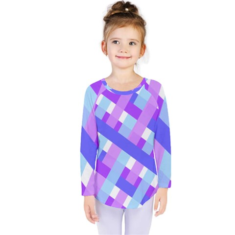 Geometric Plaid Gingham Diagonal Kids  Long Sleeve Tee by Simbadda