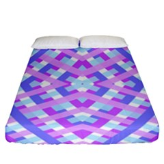 Geometric Gingham Merged Retro Pattern Fitted Sheet (california King Size) by Simbadda