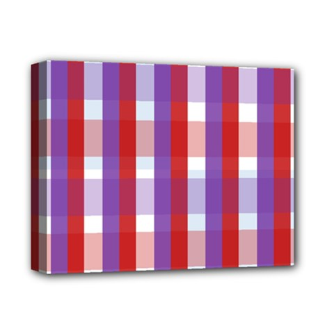 Gingham Pattern Checkered Violet Deluxe Canvas 14  X 11  by Simbadda