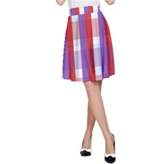 Gingham Pattern Checkered Violet A Line Skirt