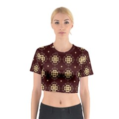 Seamless Ornament Symmetry Lines Cotton Crop Top