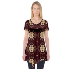 Seamless Ornament Symmetry Lines Short Sleeve Tunic