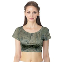 Vintage Background Green Leaves Short Sleeve Crop Top (tight Fit) by Simbadda