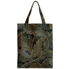 Vintage Background Green Leaves Zipper Classic Tote Bag by Simbadda