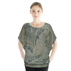 Vintage Background Green Leaves Blouse by Simbadda