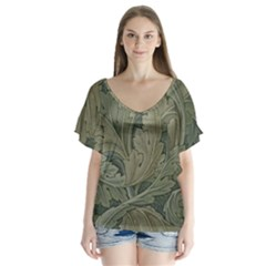 Vintage Background Green Leaves Flutter Sleeve Top by Simbadda