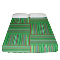 Geometric Pinstripes Shapes Hues Fitted Sheet (queen Size) by Simbadda