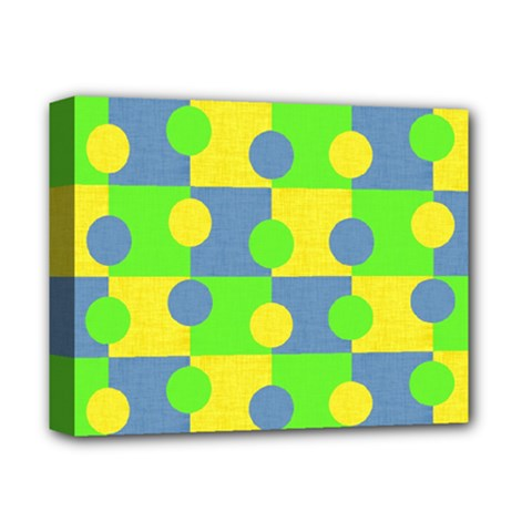 Abric Cotton Bright Blue Lime Deluxe Canvas 14  X 11  by Simbadda