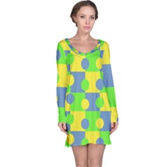 Abric Cotton Bright Blue Lime Long Sleeve Nightdress