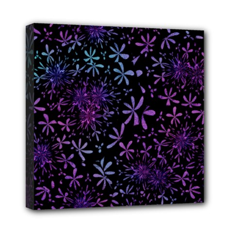 Retro Flower Pattern Design Batik Mini Canvas 8  X 8  by Simbadda
