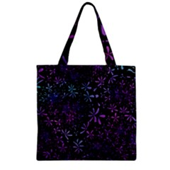 Retro Flower Pattern Design Batik Zipper Grocery Tote Bag