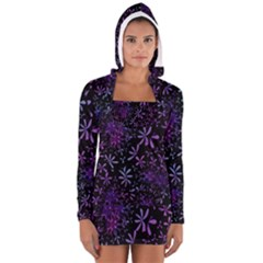 Retro Flower Pattern Design Batik Women s Long Sleeve Hooded T Shirt
