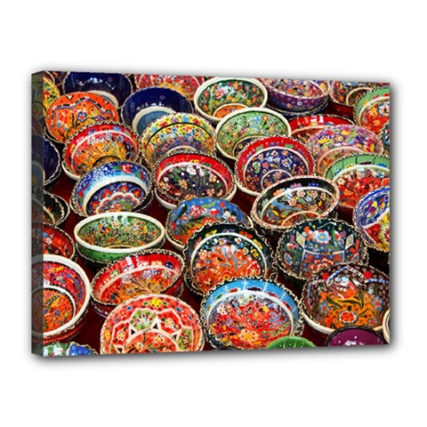 Art Background Bowl Ceramic Color Canvas 16  X 12  by Simbadda