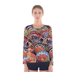 Art Background Bowl Ceramic Color Women s Long Sleeve Tee