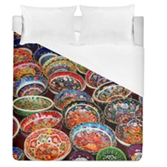Art Background Bowl Ceramic Color Duvet Cover (queen Size) by Simbadda