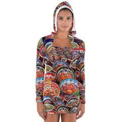 Art Background Bowl Ceramic Color Women s Long Sleeve Hooded T Shirt by Simbadda