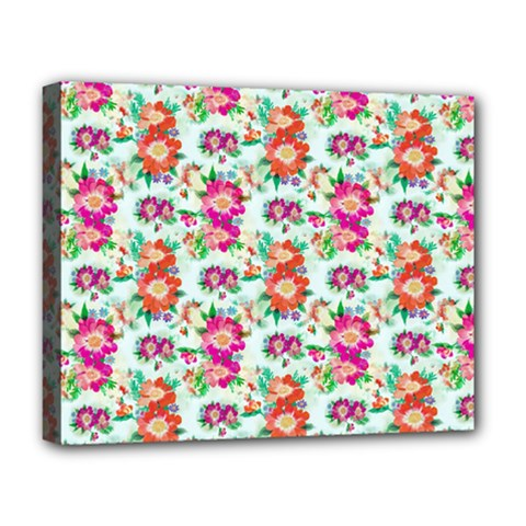 Floral Flower Pattern Seamless Deluxe Canvas 20  X 16   by Simbadda