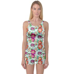 Floral Flower Pattern Seamless One Piece Boyleg Swimsuit by Simbadda