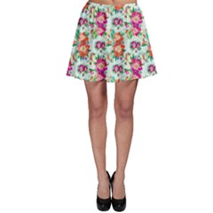 Floral Flower Pattern Seamless Skater Skirt by Simbadda