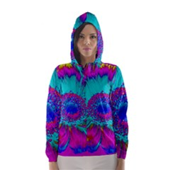 Retro Colorful Decoration Texture Hooded Wind Breaker (women) by Simbadda