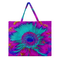 Retro Colorful Decoration Texture Zipper Large Tote Bag by Simbadda