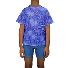 Retro Flower Pattern Design Batik Kids  Short Sleeve Swimwear by Simbadda