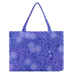 Retro Flower Pattern Design Batik Medium Zipper Tote Bag by Simbadda