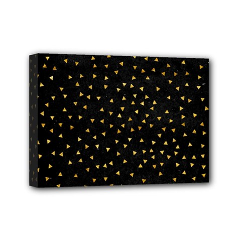 Grunge Retro Pattern Black Triangles Mini Canvas 7  X 5